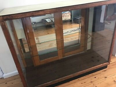 Vintage Glass and Wood Store Display/Counter Cabinet