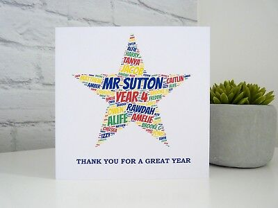 Personalised Star Teacher Thank You Card