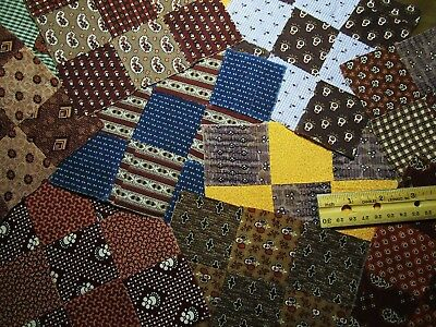 "Antique Quilt Blocks 1800's Calico's Hand sewn 12 pcs 6"" Primitives"