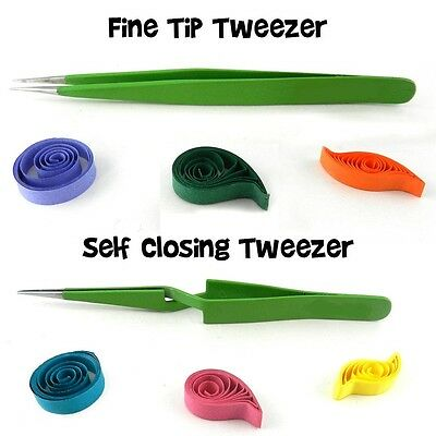 Quilling Tweezers Set - Self - Locking and Ultra Fine Tip Steel Tweezers