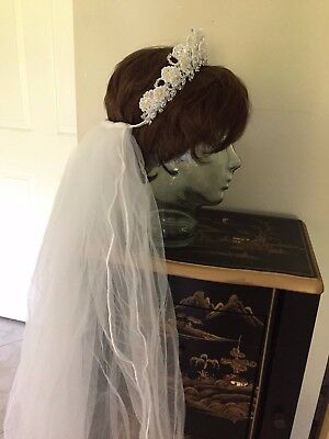 """Bridal Veil With Tiara 2 tiered White 35"""" long"""