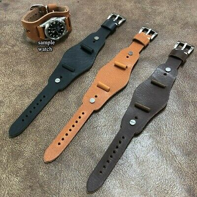 Size 16/18/20mm Oiled Brown Leather Vintage Style Cuff Watch Strap/Band #123B