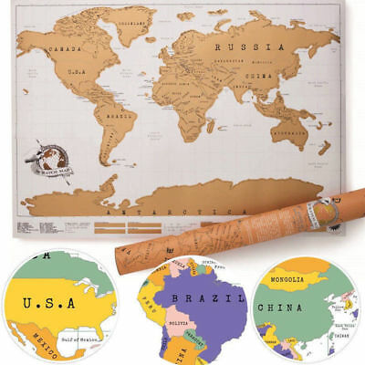 Travel Big Scratch Off World Map Poster Traveler Vacation Log Scratch Map
