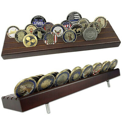 (Style1) - Indeep 4 Rows Challenge Coins Stand Holder Display Rack Wooden for