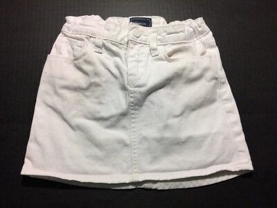 Size 7 Girls GAP KIDS Skirt White Denim Skirt  Adjustable Waist EUC