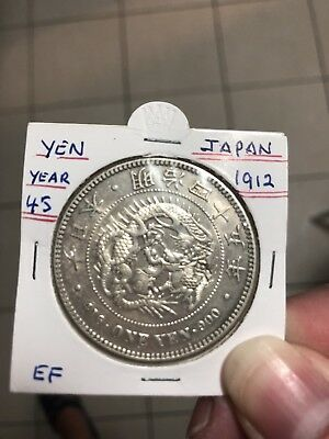 1912 japan meiji 45 One Yen Dragon Silver Coin