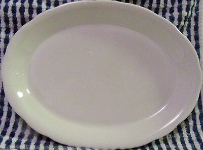 Vintage Buffalo China Extra Lg Oval Scalloped Edge Serving Ivory Platter