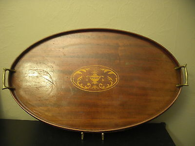 Antique Wooden Handled Serving Tray Large Oval 25x15 Inlaid Victorian Design