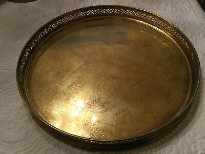 SALE! Vtg Lg Round Heavy Solid Brass Reticulated Edge Tray Stamped Italy Nice!