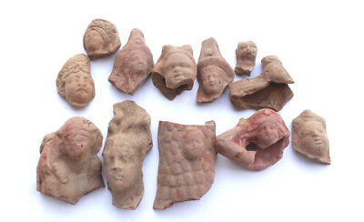 Lot of 12 terracotta Greco Roman heads (2 dogs) Egypt 1st century BC- 1st CE