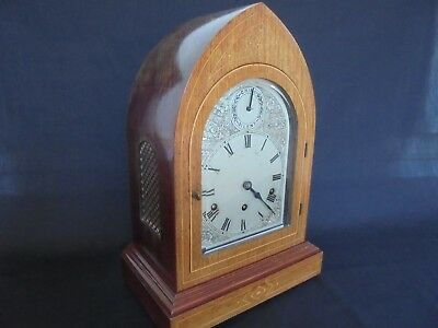 "Large Lancet Shape Mantel Bracket Clock 17"" High"