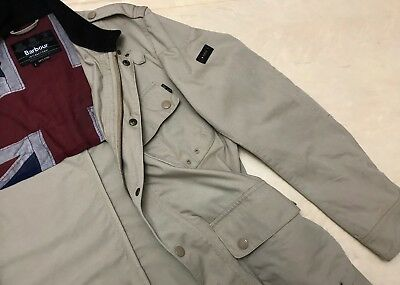 Men's Barbour International Long Beige Quilted Lined Jacket - M/L - Casuals SKA