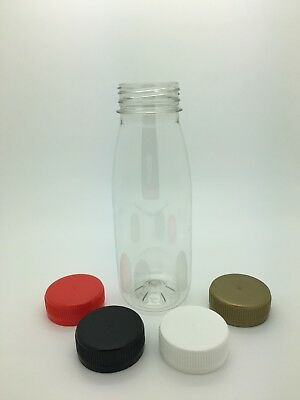 250ml PET Plastic Juice Bottles with 38mm cap -milk, juice, smoothies, parties