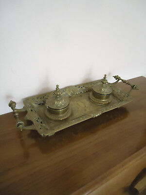 Vintage Cast Brass Bronze Decorative Double Inkwell 6lbs