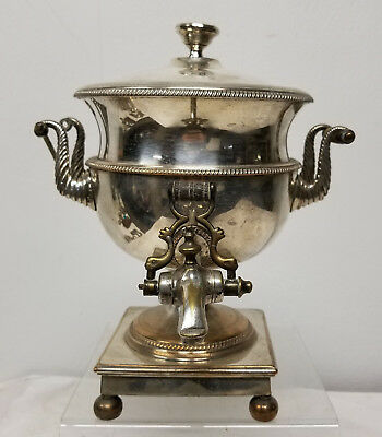 Antique Sheffield Silver Plate Hot Water Urn Tea Pot Samovar Copper
