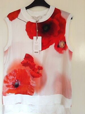 24143321a3c4c BNWT TED BAKER Women White Maidai Poppy Knitted Top Size 3 ( 12 uk ...
