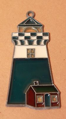 Handmade Stained Glass Lighthouse & Cottage Detailed Hanging Suncatcher VGC