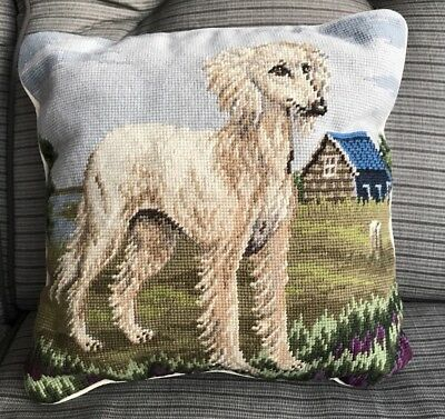 Afghan Hound Jacquard Woven Wool Cotton Tapestry Accent Throw Pillow Classic