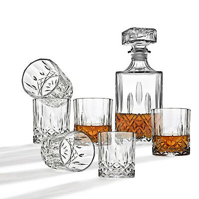 7 Piece Set Vintage Whiskey Decanter Glass Bar And Cocktail Glasses Wine Bottle