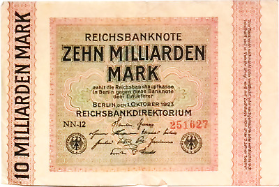 1923 Germany Weimar Republic 10.000.000.000 / 10 Billion Mark Banknote