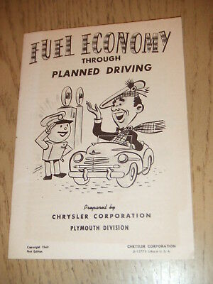 VINTAGE 1949 1st Ed Chrysler Plymouth Fuel Economy Planned Driving PROMO Booklet