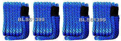 "(4) Blue Solid Braid 3/8"" x 15' ft Boat Marine Dock Lines Mooring Docking Ropes"