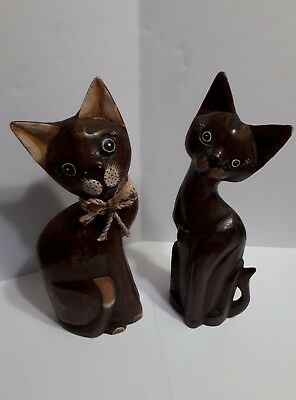 """Lot Of 2 Vintage Home Decor Hand-Crafted  Wooden Cats 15"""" Tall Cute"""