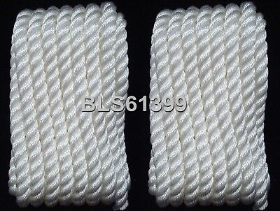 """(2) WHITE Twisted 3/8"""" in x 20' ft Boat Marine Dock Lines Mooring Docking Ropes"""