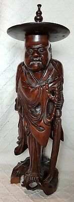 "Large Vintage Japanese Carved Wood Okimono Monk 16"" Tall"