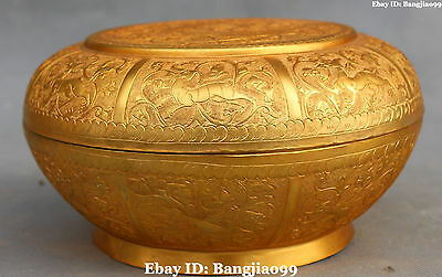 "8"" China Bronze Gold Gilt Ancient Dynasty Dragon Phoenix Tuck Box Pastry Case"