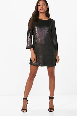a3ac9233c531 BOOHOO WOMENS JESS Sequin Top Open Back Chiffon Dip Hem Dress ...