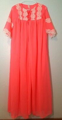 Vintage  Womens Nightgown Robe Peignoir Medium Pink Sheer GMc Lace Lingerie NOS
