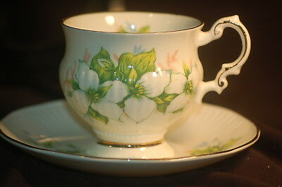 Elizabethan Priovincial  Series Puffed Ridged White Trilliium Cup and Saucer