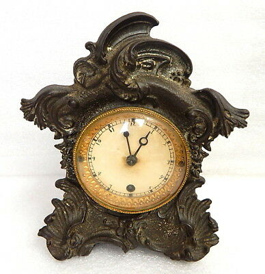 Antique Small Cast Iron Art Nouveau Clock Working New Haven Sessions Gilbert