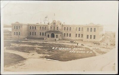 "Puerto Rico Photo Postcard, ""San Juan Graded School"" Old San Juan, 1921, Rare"