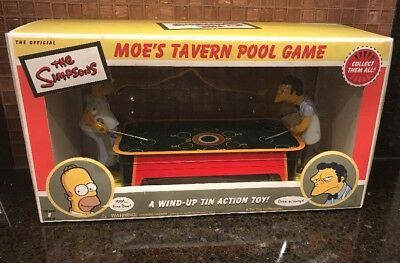 Official The Simpsons Moe's Tavern Tin Toy Wind Up Pool Game Collectable NIB