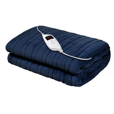 Giselle Bedding Washable Heated Electric Throw Rug Fleece Snuggle Blanket- Navy