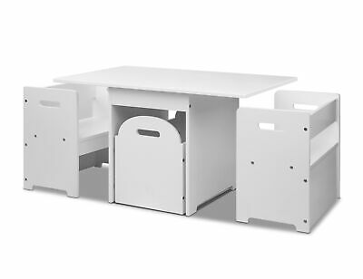 Kids Play Study Table and Chair Set Storage Box - White