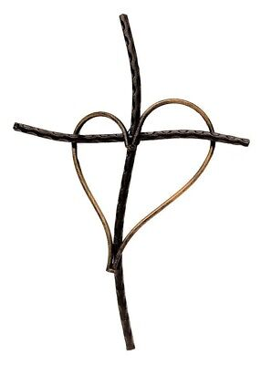 (Black) - Decorative Wall Cross with Heart, Cast Iron Metal, 33cm (Black)