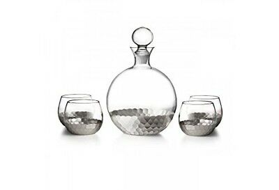 Fitz and Floyd Daphne 5 Piece Decanter Set, Silver. Brand New