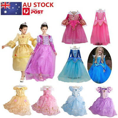 Girls Princess Dress Belle&Cinderella Aurora Costume Party Fancy Dress AU