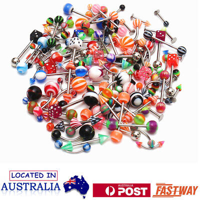 110pcs Body Jewelry Eyebrow Navel Belly Tongue Nose Piercing Lip Bar Ring