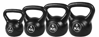 4pcs Kettle Bell Weight Set Stregth Endurance Training 2kg 4kg 6kg 8kg Black