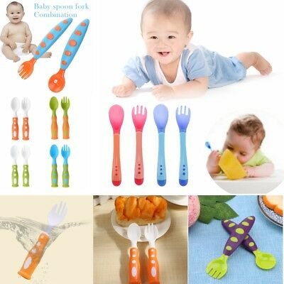 Infant Baby Kids Safety Tableware Spoon Fork Set Feeding Flatware Training Tool