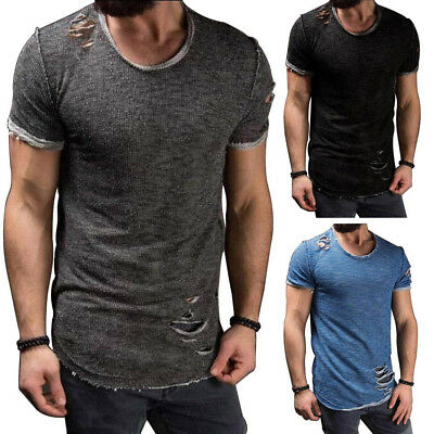 Summer Fashion Men's Tee Shirt T-Shirt Slim Fit Short Sleeve Ripped Casual Tops