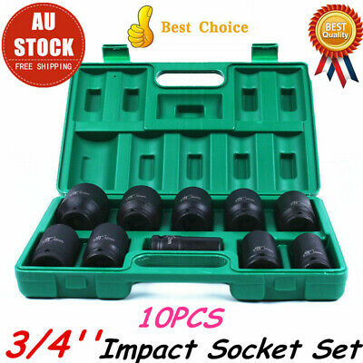 "10pcs 3/4""Drive Deep 22-41mm Standard Impact Socket Set Metric Imperial Garage"