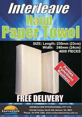 4000 Pcs 230mm x 240mm Interleave HAND PAPER TOWEL STRONG ABSORBENT Multifold
