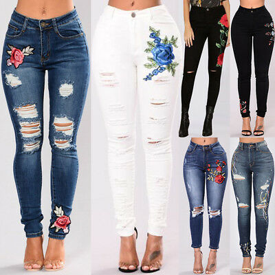 Women's Denim High Waist Stretch Jeans Skinny Ripped Pants Slim Pencil Trousers