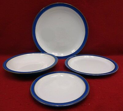 DENBY china IMPERIAL BLUE pattern 4-piece PLACE Setting -dinner salad bread soup