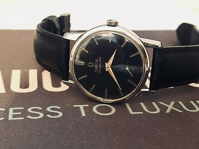 Omega Mens Seamaster 1960 Watch Mechanical Cal 268 Vintage Black Dial Sub Dial